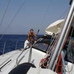 Walkabout 43 in navigazione durante una crociera in barca vela in Grecia
